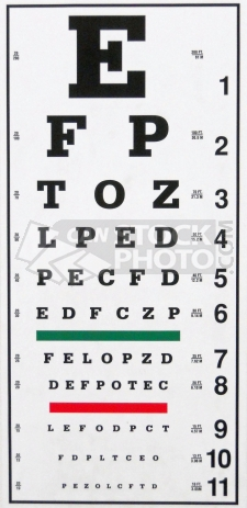 A typical Eye Exam Chart at an Optometrist Office.